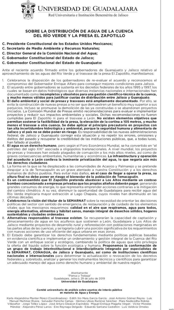 Desplegado UdeG sobre Presa el Zapotillo