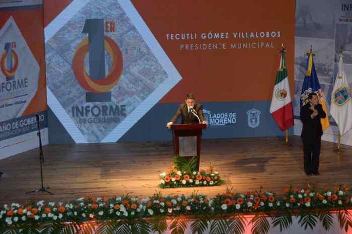 Tecutli Gómez Villalobos, Primer informe Lagos de Moreno