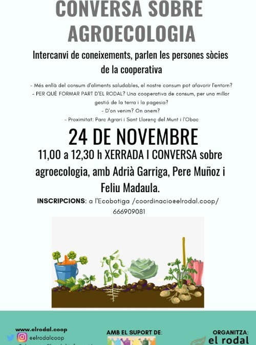 Conversa sobre agroecologia el 24 de novembre
