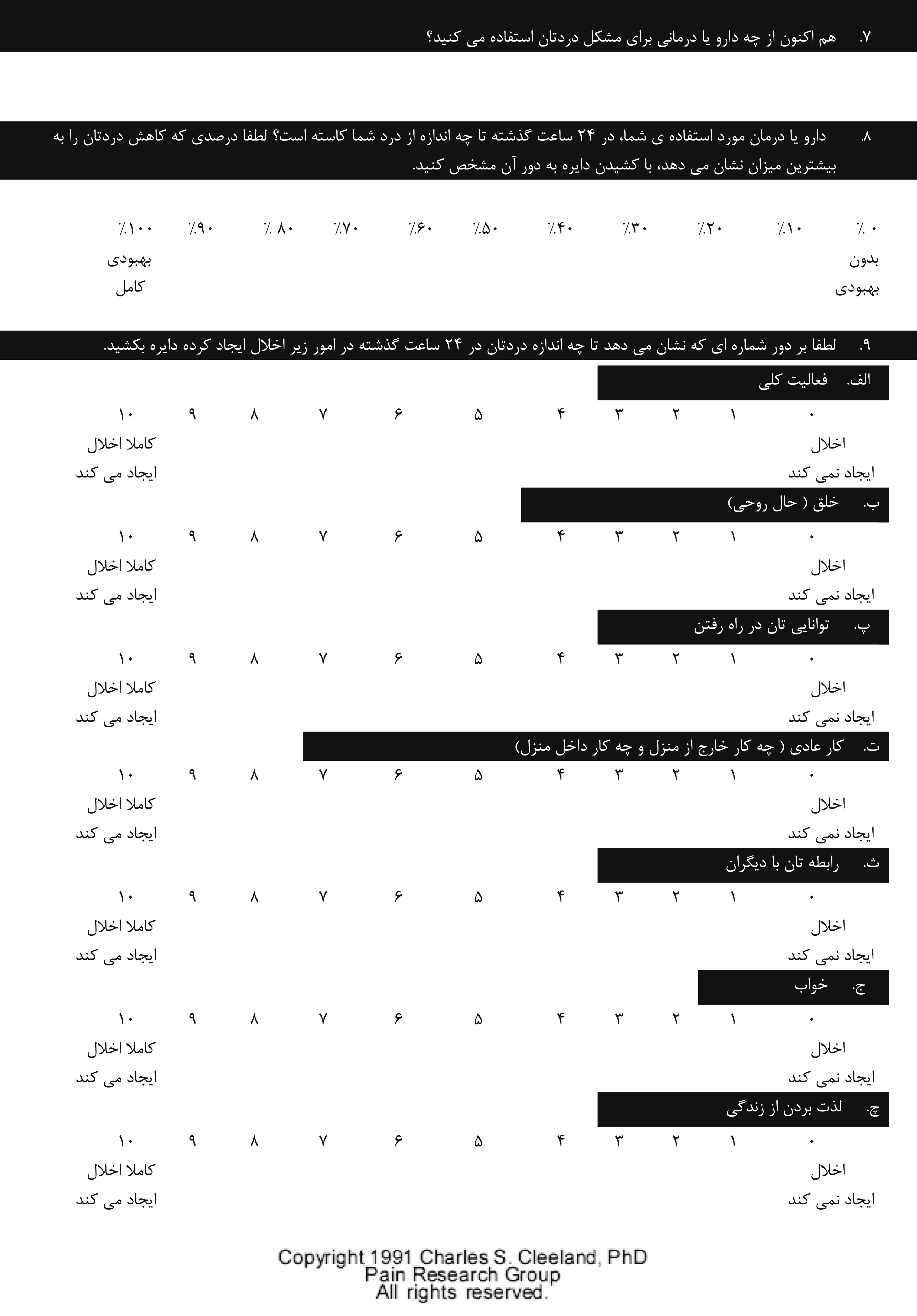 Validation Of The Persian Version Of The Brief Pain
