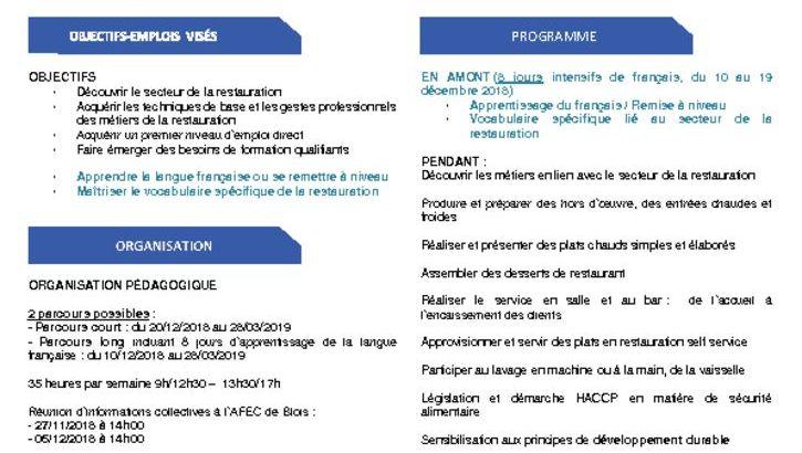 thumbnail of Formation spécifique – Acquérir les 1ers gestes de la restauration et Français