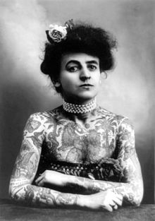 Mrs. M. Stevens Wagner, one of the earliest Tattooed Ladies that performed in the circus sideshows as a freak, 1907