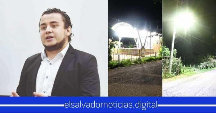 Romeo Herrera asegura la iluminación con tecnología LED en el Mozote en Morazán