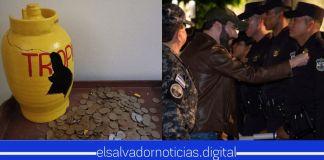 Salvadoreña Alfa quiebra su mega alcancia de tambo de gas, para donar sus ahorros al Plan Control Territorial