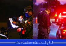 Autoridades de la PNC y la FAES, continúan en horas de la noche con los controles sanitarios en las calles