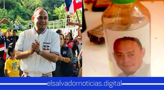 Alcalde de ARENA se aprovecha de la emergencia y hace campaña política regalando alcohol gel con su rostro