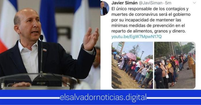 Javier Simán queda en ridículo al hacer publicaciones contra el gobierno y luego borrarlas al darse cuenta que no era el gobierno del Salvador