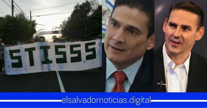 Miembros del STISSS realizan protesta exigiendo la captura de Ernesto Muyshondt y Roberto d'aubuisson por retención de cuotas laborales