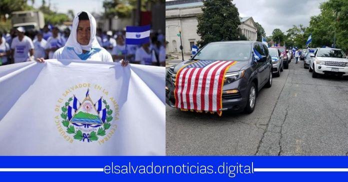Salvadoreños de la diáspora realizaron mega caravana en contra de la Asamblea y la Sala por bloquearle recursos al Gobierno de Bukele