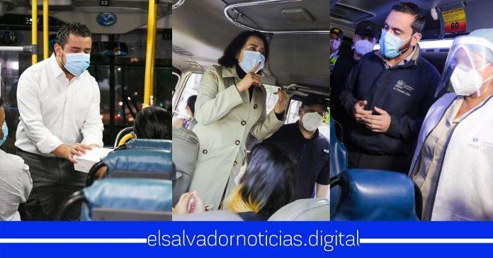 Funcionarios de Gobierno abordan unidades de transporte público, verificando que todas las medidas sean cumplidas para resguardar la salud y vida de los salvadoreños