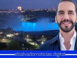 Majestuosas cataratas del Niágara se iluminan de azul y blanco como gesto de amistad con El Salvador