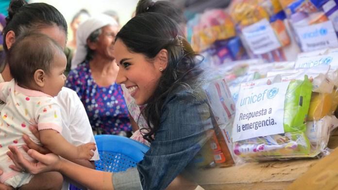 La Primera Dama, Gabriela de Bukele, entrega donativos para los afectados por ETA. La depresión tropical ha empezado a afectar a El Salvador