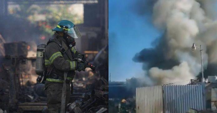 Reportan potente incendio que consumió una chatarrera en Lourdes