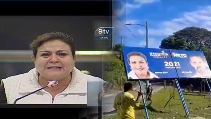 Margarita Escobar se ofende por que quitaron su valla ilegal luego que personal de Obras públicas removiera su valla por usurpación de espacio