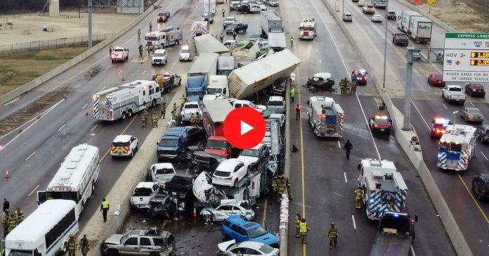 Choque de casi cien vehículos deja a decenas de personas atrapadas en una carretera en Fort Worth, Texas Estados Unidos