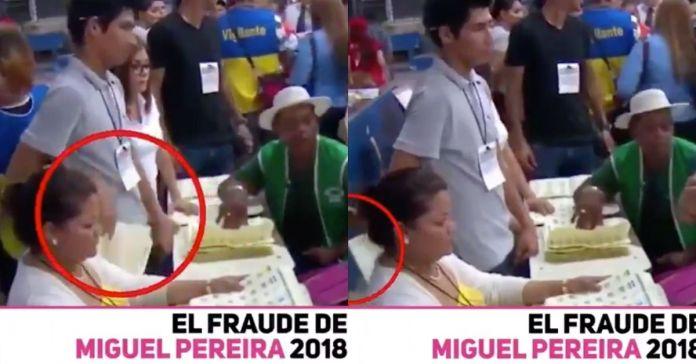 Filtran video mientras se realiza conteo de votos en San Miguel en el 2018, donde vigilante de mesa toma papeleta para hacer fraude a favor de Miguel Pereira