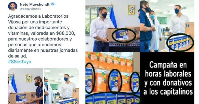 Neto Muyshondt hace campaña con donación de medicamentos que Vijosa entregó para beneficiar a la población