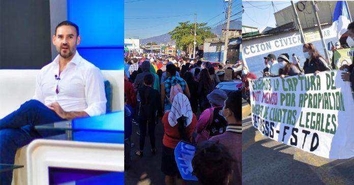 Realizan protesta contra Neto Muyshondt en solicitud de la inhabilitación de su candidatura para reelegirse como alcalde de San Salvador
