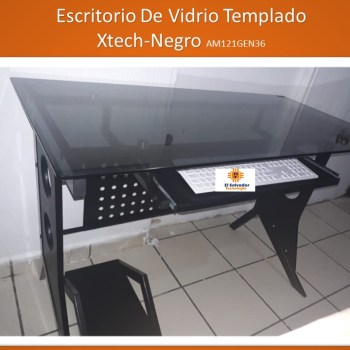 Escritorio De Vidrio Templado Xtech-Negro AM121GEN36