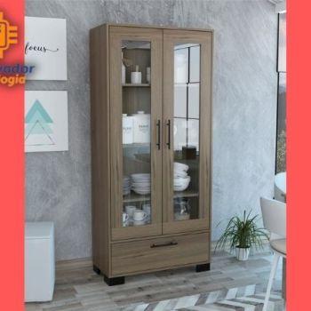 Mueble alacena puertas de vidrio café