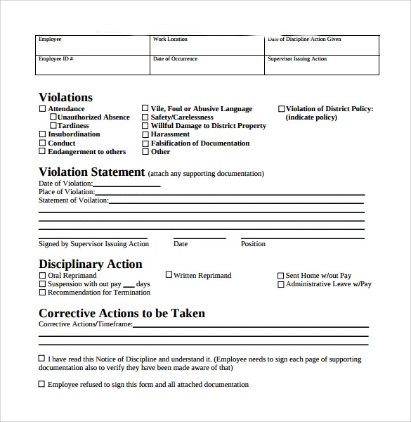 Employee Disciplinary Write Up Form Template  Ninja
