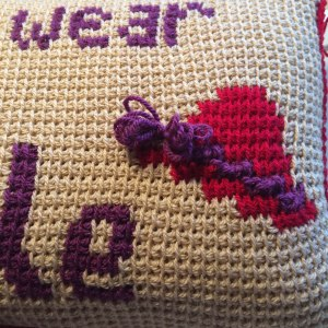 Red hat society tunisian crochet cushion