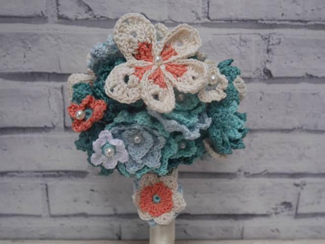 Crochet wedding bouquet close up