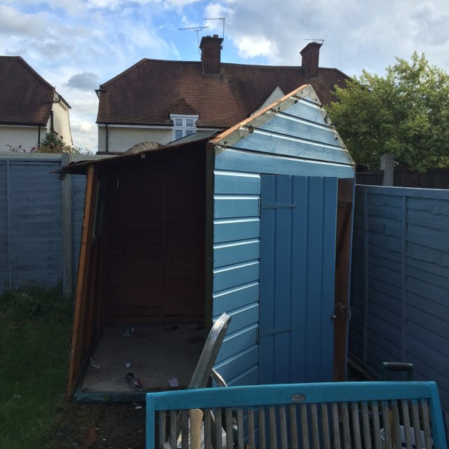 Tearing down the old shed