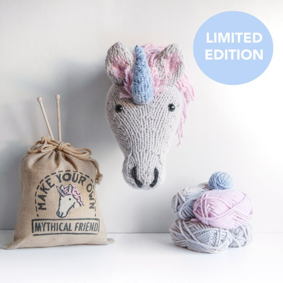 Knitted unicorn head craft kit