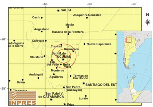 Tembló Tucumán , el sismo de 3.4º se registró a las 23hs
