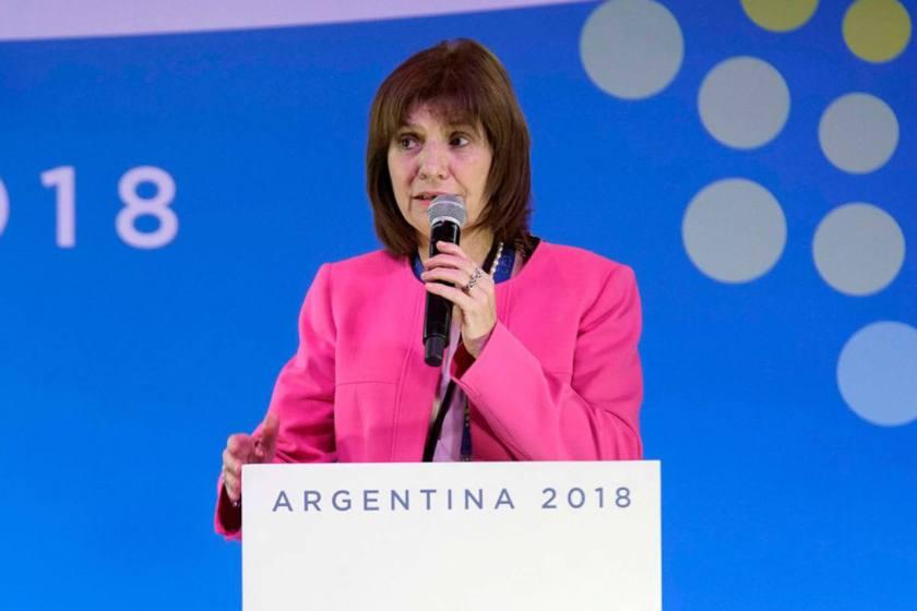 La ministra Bullrich dijo que espera una jornada de paz durante el G20