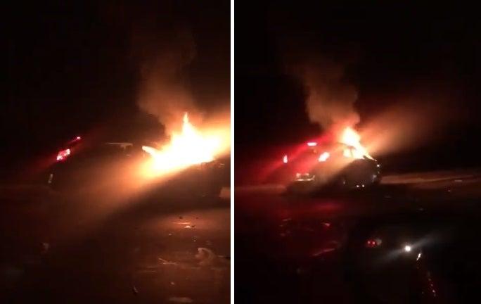 """"""" POR LA FALTA DE CONTROLES EN RUTA """" : Un auto impactó de frente contra una rastra cañera y se incendió"""