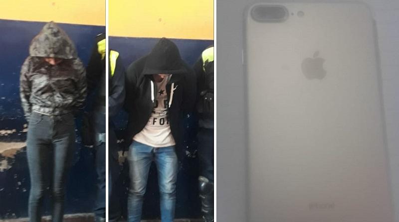 Ladrones detenidos por asaltar, herir y pedirle rescate por su celular a una mujer
