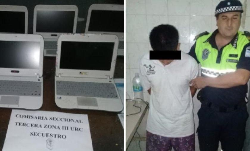 La policía detuvo a un adolescente cuando robaba netbooks de una escuela