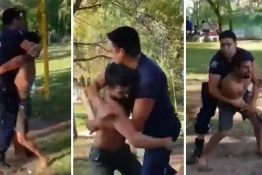 """Un policía le pidió que deje de """"beber"""": enfurecido lo golpeó y le sacó el arma, fue en un camping en San Luis(VIDEO)"""