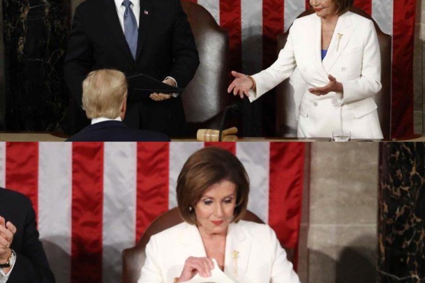 Escándalo en el Congreso de EEUU: Donald Trump eludió el saludo con Nancy Pelosi y ella rompió su discurso sobre el Estado de la Unión
