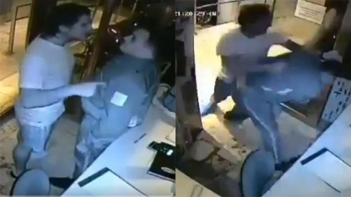 CORONAVIRUS: Salvaje  y cobarde agresión de un inquilino a un guardia que le sugirió que haga cuarentena(VIDEO)