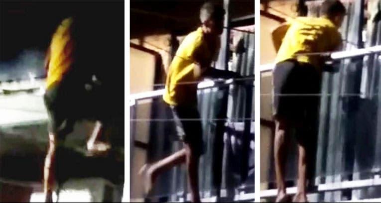 Filman a un ladrón trepando a un edificio de la avenida Mate de Luna (video)