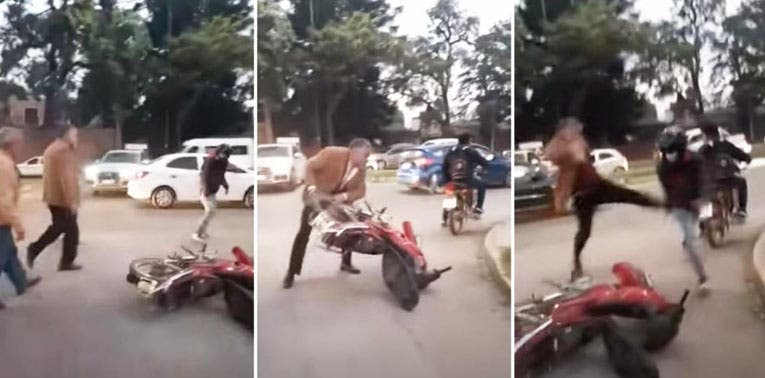 TUCUMAN: Un juez de Familia ataco a un motociclista y le destrozo la moto