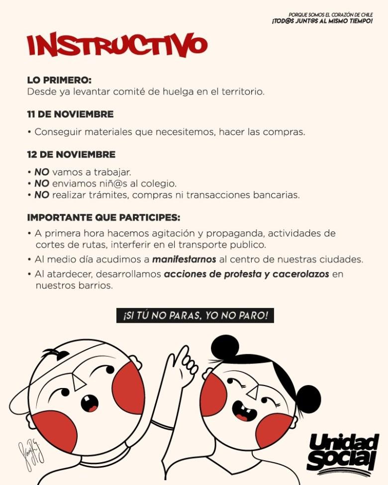 Unidad Social se organiza para la huelga general en Chile