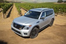 The 2017 Nissan Armada's exterior appearance is both powerful and refined. The redesigned body features an aggressive stance with bold V-motion front grille and standard LED low-beam headlights with halogen high beams and LED Daytime Running Lights - maintaining the previous generation's rugged, athletic image but with added contemporary style.