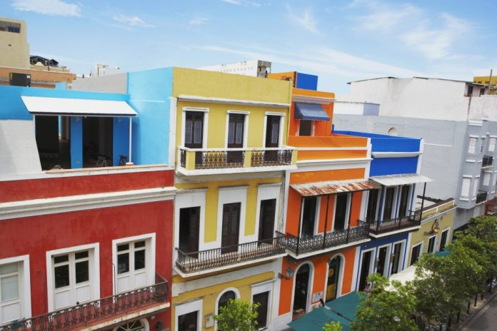 High angle view of buildings along a road, Old San Juan, San Juan, Puerto Rico.