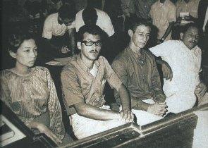 Martha González Santiago, Chino Bujosa, Ramón Antonio Marte y Eligio Blanco Peña, durante el juicio celebrado con la acusación de portar armas de fuego con fines terroristas
