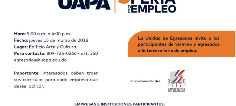 UAPA celebrará feria de empleos