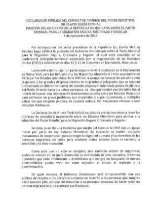 Posición del Gobierno dominicano no firmará el Pacto Mundial para la Migración Segura, Ordenada y Regular de la ONU