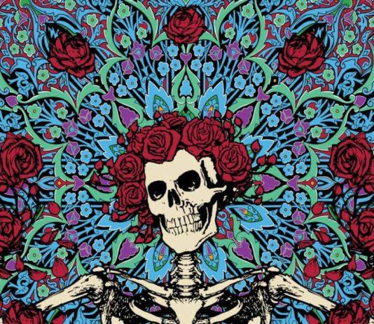 """A Grateful Dead egyik közismert """"Csontváz és rózsák"""" grafikája"""