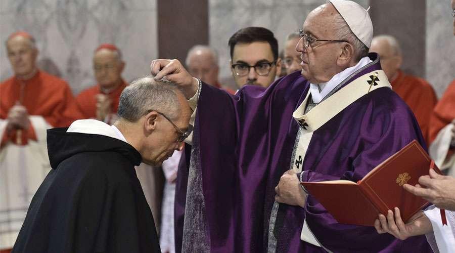 El Papa el Miércoles de Ceniza del año 2018. Foto cortesía