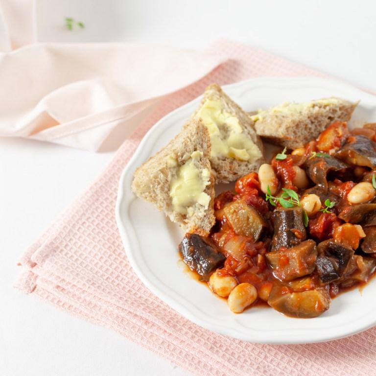 Aubergine and Butter Bean Stew