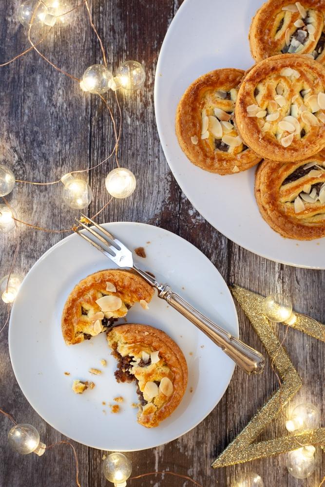 Almond mince tarts with Christmas lights