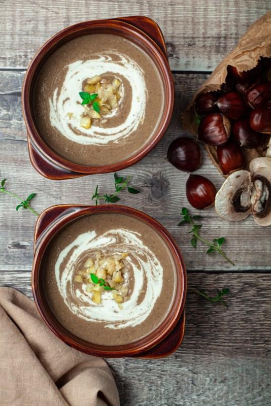 Chestnut, porcini & mushroom soup